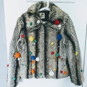 🔥Handmade Festival LED faux fur coat (Burn!) 🔥💖